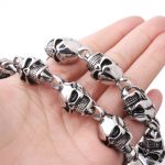 30 Inch Huge <b>Silver</b> Black 316L Stainless Steel Pirate Skull <b>Necklace</b> Mens Biker Link Chain Cool Jewelry