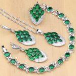 925 <b>Silver</b> Jewelry Green Zircon White Crystal Jewelry Sets for Women Earrings/Pendant/Rings/<b>Bracelet</b>/Necklace Set