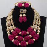 Splendid Fuchsia Pink Trendy Nigerian Wedding <b>Jewelry</b> Bride Indian Bridal Party <b>Handmade</b> Costume <b>Jewelry</b> Set Free ShippingABL773