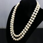 2 Row White pearl necklace 8-9mm 17-18 inches DIY Beaded Women hot sale <b>Jewelry</b> <b>making</b> design necklace gift wholesale