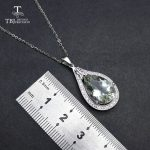 TBJ,elegant pendant with natural green amethyst gemstone in 925 sterling <b>silver</b>, gemstone jewelry for women & girl with gift box