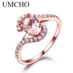 UMCHO <b>Silver</b> 925 Pink Sapphire Rings For Women Engagement Party Rose Gold Color Ring New Fashion Promise Rings Fine <b>Jewelry</b>