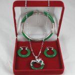 Women's Wedding fashion designed green 7.5″ gem bracelet, earings, and dotted pendant <b>jewelry</b> sets f silver mujer moda