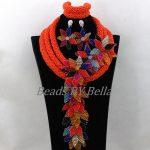 Opaque Orange Crystal Beads for Women <b>Handmade</b> Flower African Wedding <b>Jewelry</b> Nigerian Statement Necklace Free Shipping ABK176