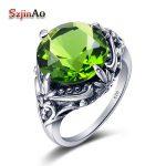 Szjinao Women Fashion <b>Jewelry</b> 100% 925 Silver Ring Restoring Ancient Light Green Peridot Silver Rings Wholesale <b>Handmade</b>