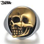 ZABRA 925 Sterling Silver Rose Gold 18mm Skull Ring for Women Mens Personality Biker Vintage Punk <b>Jewelry</b> aneis de prata 925