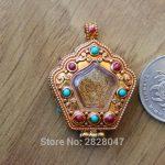 PN115 Ethnic Tibetan <b>Jewelry</b> Tibet Buddhist Prayer Box Gau Pendant <b>Handmade</b> Nepalese Copper Golden Tower Shape Prayer Amulet