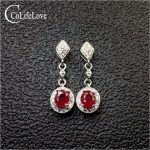 100% real heated ruby drop earrings for wedding 4 mm * 5 mm SI grade ruby earrings solid 925 <b>silver</b> ruby party <b>jewelry</b> girl gift