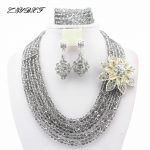 2017 New Arrival African Beads Jewelry Set Nigerian Wedding African Crystal Beads Jewelry Set HD1881