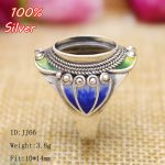 Colorful 100% 925 Sterling Silver Ring Blank <b>Jewelry</b> Fit Oval 10*14mm Cloisonne Vintage Ring Base Tray for DIY <b>Handmade</b>