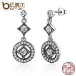 BAMOER Stunning 925 Sterling Silver with AAA Zircon VINTAGE ALLURE Drop Earrings for Women <b>Fashion</b> <b>Jewelry</b> Engagement PAS492