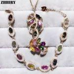 ZHHIRY Women Natural Tourmaline Gem Stone <b>Jewelry</b> Sets Real Solid 925 <b>Sterling</b> <b>Silver</b> Set Girl Ring Necklace Pendant Bracelet