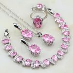 Crown 925 Sterling Silver <b>Jewelry</b> Pink Zircon White CZ <b>Jewelry</b> Sets For Women Engagement Earrings/Pendant/<b>Necklace</b>/Bracelet/Ring