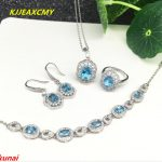 KJJEAXCMY boutique jewels Caibao jewellery 925 <b>silver</b> inlaid with natural blue topaz female pendant ring <b>earrings</b> bracelet set.