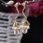 GLSEEVO 925 Sterling <b>Silver</b> Ear Pin Natural Fresh Water Pearl Leaves Long Drop <b>Earrings</b> For Women Handmade Fine Jewelry GE0303