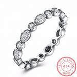 INALIS 925 Sterling Silver Round Oval Ring with Zirconia Eternity Rings for Women Wedding Fashion <b>Jewelry</b> Party <b>Accessories</b>