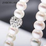 ZHBORUINI 2017 Pearl Necklace 925 <b>Sterling</b> <b>Silver</b> <b>Jewelry</b> For Women 8-9mm Crystal Ball Natural Freshwater Pearls Pearl <b>Jewelry</b>