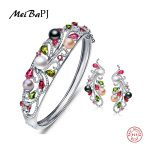MeiBaPJ Luxury 925 <b>Sterling</b> <b>Silver</b> Colorful Pearl <b>Jewelry</b> Set Bracelet And Earrings With Gift Box Wedding <b>Jewelry</b> Good Present