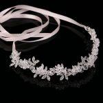 TUANMING Hot Ladies Silver Crystal Bridal Wedding Tiara Flower Pearls Crystal Chain Headband Hair Clip Comb <b>Jewelry</b>