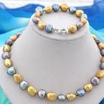 Women Jewelry Set 10mm Bright Gold Blue Gray Mixed real pearl Choker necklace <b>Bracelet</b> highlight Natural Freshwater pearl