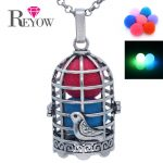 <b>Antique</b> Silver Bird Cage Hollow Locket Glow Beads Pendant Necklace Aromatherapy Essential Oil Fragrance Diffuser <b>Jewelry</b>