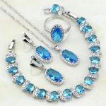 Oval 925 Sterling <b>Silver</b> Jewelry Sets Sky Blue Cubic Zirconia White CZ For Women Wedding Earring/Pendant/Necklace/<b>Bracelet</b>/Ring