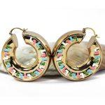 50MM Big Round Copper Hoop Earrings For Women Colorful Enamel Glaze Hoops Earrings Dubai Gold Thick Copper Wedding <b>Jewelry</b> EA071