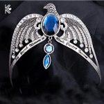 Ravenclaw Lose Crown Horcrux Bridal Hairbands <b>Antique</b> Silver Eagle Animal Blue Crystal Headbands Wedding Hair Accessories