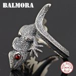 BALMORA Authentic 925 Sterling Silver Lizard Open Rings for Men Punk Personalized Ring Red Eyes Animal <b>Jewelry</b> Anillos SY21897