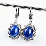 925 <b>Silver</b> <b>Earrings</b> Red Blue Cubic Zircon Stone New Fashion 100% S925 Sterling <b>Silver</b> Drop <b>Earring</b> boucle for Women Jewelry