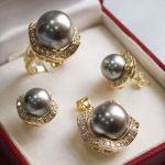 Prett Lovely Women's Wedding NEW 12-14MM Gray shell pearl crystal pendant necklace earring rings <b>jewelry</b> sets