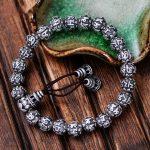 MetJakt Buddhism Mantra <b>Bracelet</b> Solid 999 Fine <b>Silver</b> Buddha Beads <b>Bracelet</b> for Unisex Vintage Jewelry Stretching 17-22cm