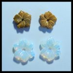 Birthday gift,2 Pair Carved flower Mookite jasper Opalite <b>fashion</b> women gemstone Earrings,18x4mm,2.3g,13x5mm,2g