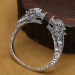 <b>Handmade</b> Thai Silver Dragon Bangle Vintage Real 925 Silver Dragon Bangle Man Bangle Punk <b>Jewelry</b> Gift