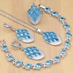Sky Blue Zircon Jewelry White Crystal Women 925 <b>Silver</b> Bridal Jewelry Sets Earrings/Pendant/Rings/<b>Bracelet</b>/Necklace Set