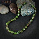 KCALOE Indian Onyx Necklace Fashion Green Natural Stone Women Necklaces Irregular Beads Handmade Statement <b>Jewelry</b> <b>Accessories</b>