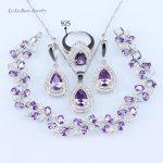 L&B Elegant <b>silver</b> colo 925 logo Purple Crystal Zircon Jewelry Sets For Women Crystal Rings/Earrings/Necklace <b>bracelet</b> sets