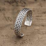 Solid <b>Sterling</b> <b>Silver</b> 925 Trip Strand Weave Cuff Bracelet Bangle Men Women Simple Design Handmade Craft Real <b>Silver</b> 925 <b>Jewelry</b>