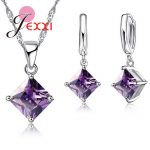 JEXXI 8 Colors 925 Sterling Silver Women Wedding Beautiful Pendant Necklace Earrings Set Clearly Square Crystal <b>Jewelry</b> Sets