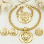2018 Italian Fashion Laser Patterns <b>Jewelry</b> Charms Dubai Gold Jewelery Sets African Women Big <b>Necklace</b> Wedding Party <b>Jewelry</b>