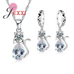 Giemi 2018 Arrival Cat Pendant Necklace Earrings Sets 925 Sterling Silver kitty <b>Jewelry</b> Sets Anniversary Birthday Best Gifts