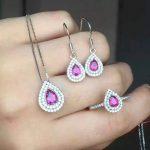 Natural red tourmaline gem jewelry sets natural gemstone ring <b>Earring</b> Pendant 925 <b>silver</b> Elegant water drop women jewelry