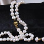 Prett Lovely Women's Wedding Genuine 7-7.5MM white Akoya Cultured Pearl Necklace earrings set AA+ R06 silver-<b>jewelry</b>