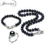 Real wedding black pearl <b>jewelry</b> set women,round bridal pearl necklace set with bracelet adjustable ring 925 <b>silver</b> jewlery