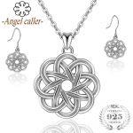 Angel Caller 925 Sterling <b>Silver</b> Celtics Knot Jewelry Sets Round Vintage Pendant Necklaces <b>Earrings</b> Flower Love Dangle <b>Earrings</b>