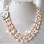 Fashion stunning 7-8mm 3 Strds beautiful white akoya pearl diy Necklace <b>making</b> MY4782
