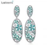 LUOTEEMI Statement Long Big Drop Earrings Clear Green Flower CZ Stones Luxuroius Brincos for Women Wedding <b>Jewelry</b> Bijoux Gift