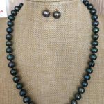 set of 9-10mm tahitian black green pearl necklace baracelet <b>earring</b> 18inch 925silver