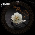 Uglyless Real S 925 Sterling Silver <b>Handmade</b> Floral <b>Jewelry</b> Luxury Natural Jade Ring Plum Blossom Rings for Women Elegant Bijoux
