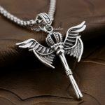 925 Sterling <b>Silver</b> Angel Wing Scepter Crown Mens Biker Pendant 8X022(<b>Necklace</b> 24inch)